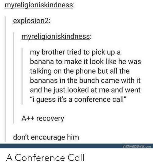 "Talking On The Phone: myreligioniskindness:  explosion2:  myreligioniskindness:  my brother tried to pick up a  banana to make it look like he was  talking on the phone but all the  bananas in the bunch came with it  and he just looked at me and went  ""i guess it's a conference call""  A++ recovery  don't encourage him  STRANGEDEAVER.com A Conference Call"