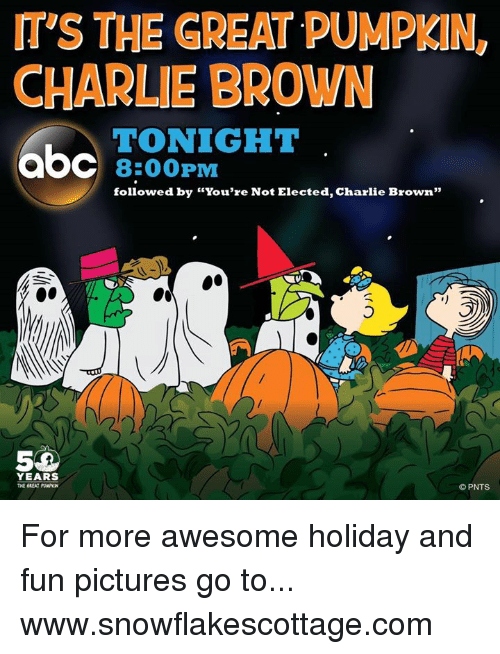 """Charlie, Memes, and Browns: mys THE GREAT PUMPKIN,  CHARLIE BROWN  TONIGHT  aOC 8:00 PM  followed by """"You're Not Elected, Charlie Brown""""  YEARS  THE GREAT PUNPKN  PNTS For more awesome holiday and fun pictures go to... www.snowflakescottage.com"""