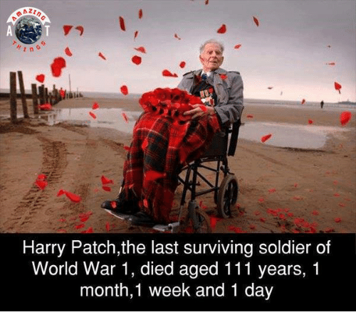 survivalism: n G  Harry Patch,the last surviving soldier of  World War 1, died aged 111 years, 1  month,1 week and 1 day