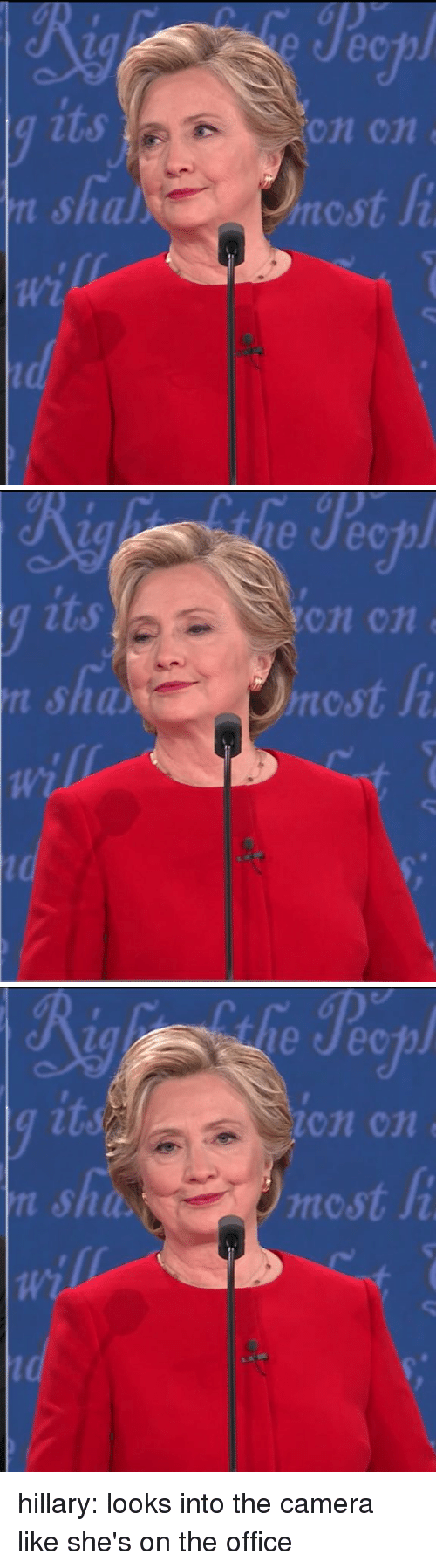 osha: n shal  Wi  On Cn  ncst   on cn e  rncst  Ji   osha,  le Jeep  on cn hillary: looks into the camera like she's on the office