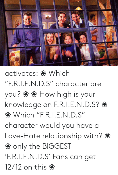 """how high: NA activates:    ❀ Which """"F.R.I.E.N.D.S"""" character are you?❀   ❀How high is your knowledge on   F.R.I.E.N.D.S? ❀       ❀  Which """"F.R.I.E.N.D.S"""" character would you have a Love-Hate relationship with?   ❀        ❀  only the BIGGEST 'F.R.I.E.N.D.S' Fans can get 12/12 on this   ❀"""