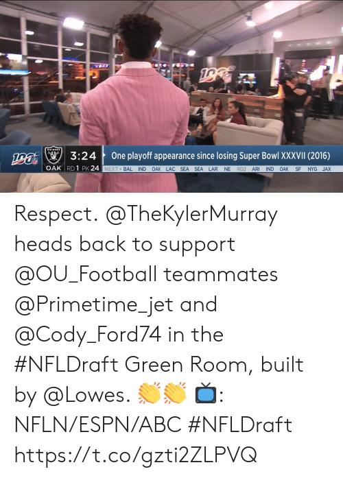 Abc, Espn, and Football: na3:24  One playoff appearance since losing Super Bowl XXXVII (2016)  OAK RD 1 PK 24  NEXT BAL IND OAK LAC SEA SEA LAR NE RD2 ARI IND OAK SF NYG JAX Respect.  @TheKylerMurray heads back to support @OU_Football teammates @Primetime_jet and @Cody_Ford74 in the #NFLDraft Green Room, built by @Lowes. 👏👏  📺: NFLN/ESPN/ABC #NFLDraft https://t.co/gzti2ZLPVQ