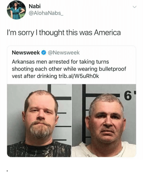 America, Drinking, and Sorry: Nabi  @AlohaNabs_  I'm sorry I thought this was America  Newsweek@Newsweek  Arkansas men arrested for taking turns  shooting each other while wearing bulletproof  vest after drinking trib.al/W5uRhOk  61 .