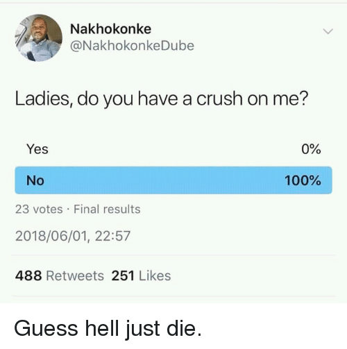 Anaconda, Crush, and Guess: Nakhokonke  @NakhokonkeDube  Ladies, do you have a crush on me?  Yes  0%  No  100%  23 votes Final results  2018/06/01, 22:57  488 Retweets 251 Likes Guess hell just die.