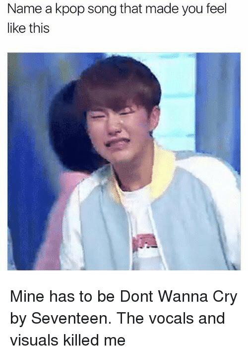 Mine, Song, and Seventeen: Name a kpop song that made you feel  like this Mine has to be Dont Wanna Cry by Seventeen. The vocals and visuals killed me