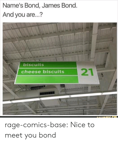 Cheese Biscuits: Name's Bond, James Bond.  And you are...?  biscuits  21  cheese biscuits rage-comics-base:  Nice to meet you bond