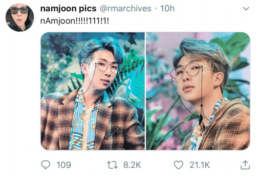 Pics, Namjoon, and 2k: namjoon pics @rmarchives 10h  nAmjoon!!!!!111!1!  t 8.2K  109  21.1K
