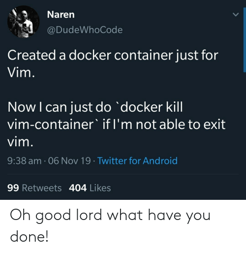 Exit: Naren  @DudeWhoCode  Created a docker container just for  Vim.  Now I can just do docker kill  vim-container' if I'm not able to exit  vim.  9:38 am. 06 Nov 19 Twitter for Android  99 Retweets 404 Likes Oh good lord what have you done!