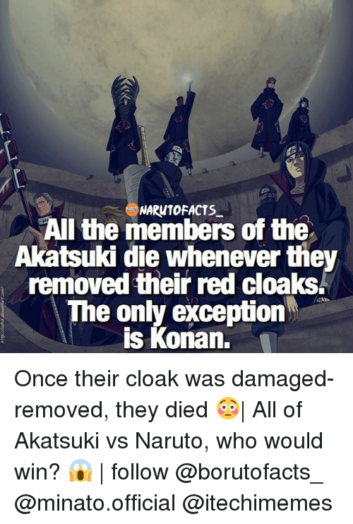 Facts, Memes, and Naruto: NARUTO FACTS  All the members of the  Akatsuki die whenever the  removed their red cloaks.  e only exception  is Konan, Once their cloak was damaged-removed, they died 😳| All of Akatsuki vs Naruto, who would win? 😱 | follow @borutofacts_ @minato.official @itechimemes