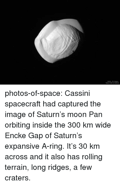 spacecraft: NASA, JPL-Caltech,  Space Science Institute photos-of-space:  Cassini spacecraft had captured the image of Saturn's moon Pan orbiting inside the 300 km wide Encke Gap of Saturn's expansive A-ring. It's 30 km across and it also has rolling terrain, long ridges,  a few craters.