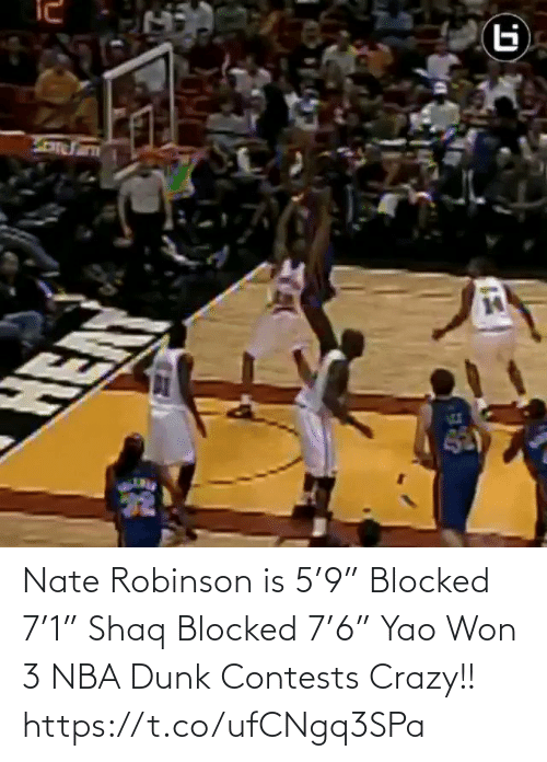 "Shaq: Nate Robinson is 5'9"" Blocked 7'1"" Shaq Blocked 7'6"" Yao  Won 3 NBA Dunk Contests  Crazy!!   https://t.co/ufCNgq3SPa"