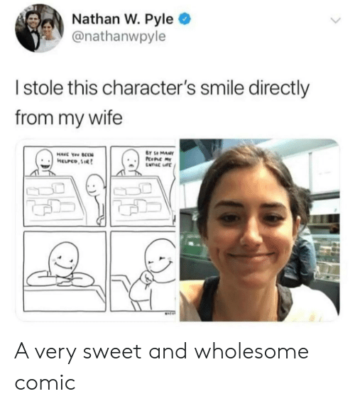 Smile, Wife, and Wholesome: Nathan W. Pyle  @nathanwpyle  I stole this character's smile directly  from my wife  Y Se MANY A very sweet and wholesome comic