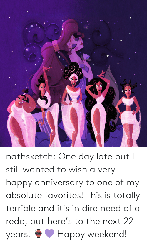 dire: nathsketch: One day late but I still wanted to wish a very happy anniversary to one  of my absolute favorites! This is totally terrible and it's in dire need  of a redo, but here's to the next 22 years! 🏺💜 Happy weekend!