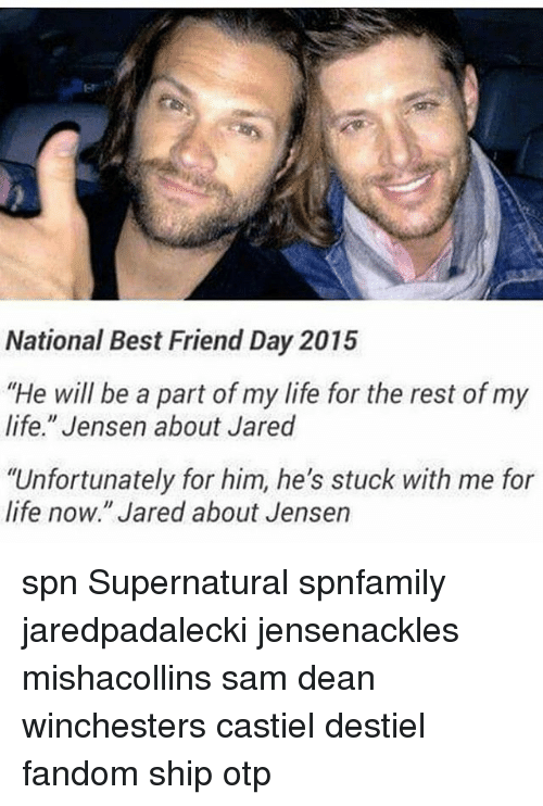 "national best friend day: National Best Friend Day 2015  ""He will be a part of my life for the rest of my  life."" Jensen about Jared  ""Unfortunately for him, he's stuck with me for  life now."" Jared about Jensen spn Supernatural spnfamily jaredpadalecki jensenackles mishacollins sam dean winchesters castiel destiel fandom ship otp"