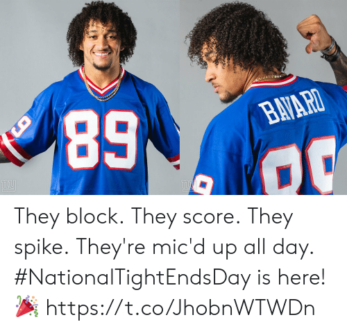 ight: NATIONAL  TAE  DAY  NFL  ATIONA  IGHT ENDS  AY  ERS  2019 They block. They score. They spike. They're mic'd up all day.  #NationalTightEndsDay is here! 🎉 https://t.co/JhobnWTWDn