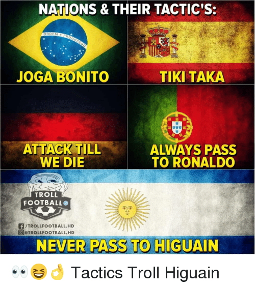 Football, Memes, and Troll: NATIONS & THEIR TACTIC'S:  JOGA BONITO  TIKI TAKA  ALWAYS PASS  TO RONALDO  WE DIE  TROLL  FOOTBALL  f/TROLLFOOTBALL.HD  @ @TROLLFOOTBALL. HD  NEVER PASS TO HIGUAIN 👀😆👌 Tactics Troll Higuain