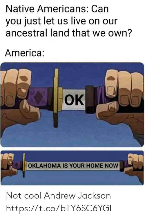 America, Cool, and Home: Native Americans: Can  you just let us live on our  ancestral land that we own?  America:  OK  00  OKLAHOMA IS YOUR HOME NOW Not cool Andrew Jackson https://t.co/bTY6SC6YGl