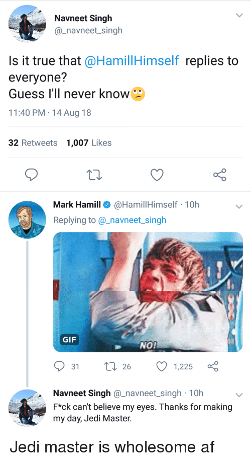 Af, Gif, and Jedi: Navneet Singh  @_navneet singh  Is it true that @HamillHimself replies to  evervone?  Guess I'll never know  11:40 PM 14 Aug 18  32 Retweets 1,007 Likes  o D  Mark Hamill @HamillHimself 10h  Replying to@_navneet singh  GIF  NO  31  26  1,225  0h  Navneet Singh @_navneet_singh 10h  F*ck can't believe my eyes. Thanks for making  my day, Jedi Master. Jedi master is wholesome af