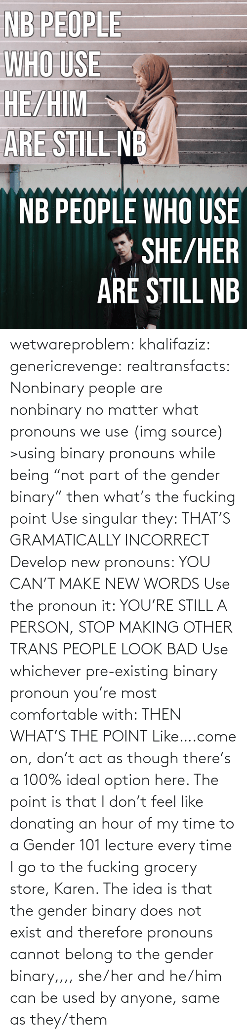 "Umblr: NB PEOPLE  WHO USE  HE/HIM  ARE STILL NB   NB PEOPLE WHO USE  * SHE/HER  ARÉ STILL NB wetwareproblem: khalifaziz:   genericrevenge:   realtransfacts: Nonbinary people are nonbinary no matter what pronouns we use (img source)   >using binary pronouns while being ""not part of the gender binary"" then what's the fucking point   Use singular they: THAT'S GRAMATICALLY INCORRECT Develop new pronouns: YOU CAN'T MAKE NEW WORDS Use the pronoun it: YOU'RE STILL A PERSON, STOP MAKING OTHER TRANS PEOPLE LOOK BAD Use whichever pre-existing binary pronoun you're most comfortable with: THEN WHAT'S THE POINT Like….come on, don't act as though there's a 100% ideal option here.    The point is that I don't feel like donating an hour of my time to a Gender 101 lecture every time I go to the fucking grocery store, Karen.     The idea is that the gender binary does not exist and therefore pronouns cannot belong to the gender binary,,,, she/her and he/him can be used by anyone, same as they/them"