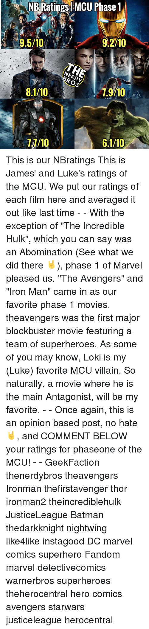 """Lokie: NB  Ratings  MCU  Phase  1  9,5/10O  9.5/10  9.2/10  I 7.9710  1.9/10  1,9/10 This is our NBratings This is James' and Luke's ratings of the MCU. We put our ratings of each film here and averaged it out like last time - - With the exception of """"The Incredible Hulk"""", which you can say was an Abomination (See what we did there 🤘), phase 1 of Marvel pleased us. """"The Avengers"""" and """"Iron Man"""" came in as our favorite phase 1 movies. theavengers was the first major blockbuster movie featuring a team of superheroes. As some of you may know, Loki is my (Luke) favorite MCU villain. So naturally, a movie where he is the main Antagonist, will be my favorite. - - Once again, this is an opinion based post, no hate 🤘, and COMMENT BELOW your ratings for phaseone of the MCU! - - GeekFaction thenerdybros theavengers Ironman thefirstavenger thor ironman2 theincrediblehulk JusticeLeague Batman thedarkknight nightwing like4like instagood DC marvel comics superhero Fandom marvel detectivecomics warnerbros superheroes theherocentral hero comics avengers starwars justiceleague herocentral"""