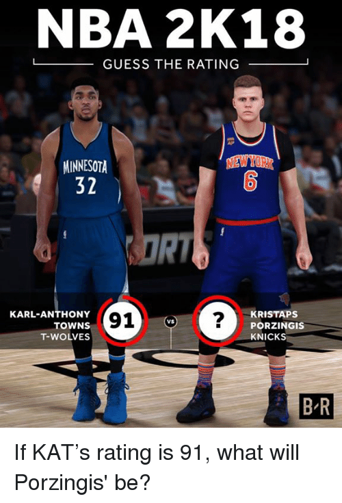 Karl-Anthony Towns: NBA 2K18  -GUESS THE RATING  NEW YORK  MINNESOTA  32  0  RI  KARL-ANTHONY  TOWNS  T-WOLVES  91?  KRISTAPS  PORZINGIS  KNICKS  VS  B-R If KAT's rating is 91, what will Porzingis' be?
