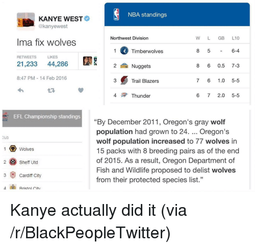 "Blackpeopletwitter, Kanye, and Nba: NBA standings  KANYE WEST  @kanyewest  Northwest Division  W L GB L10  Ima fix wolves  Timberwolves  6-4  RETWEETS  LIKES  21,233 44,286  鍮Nuggets  8 6 0.5 7-3  8:47 PM 14 Feb 2016  3  Trail Blazers  7 6 1.0 5-5  4  Thunder  6 72.0 5-5  EFL Championship standings  ""By December 2011, Oregon's gray wolf  population had grown to 24. Oregon's  wolf population increased to 77 wolves in  15 packs with 8 breeding pairs as of the end  of 2015. As a result, Oregon Department of  Fish and Wildlife proposed to delist wolves  from their protected species list.""  lub  Wolves  2 Sheff Utd  3 Cardiff City <p>Kanye actually did it (via /r/BlackPeopleTwitter)</p>"