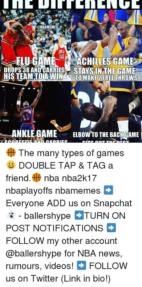 Nba, News, and Snapchat: @NBAMEMES  25  ELU-GAME ACHILLES GAME  DROPS 38 AND CARRIES STIVCINTHETHIYMEE  HIS TEAM TODAWIN  TO MAKE 2 FREE THROWS  432  ANKLE GAME  ELBOW TO THE BACK GAME 🏀 The many types of games 😀 DOUBLE TAP & TAG a friend.🏀 nba nba2k17 nbaplayoffs nbamemes ➡Everyone ADD us on Snapchat 👻 - ballershype ➡TURN ON POST NOTIFICATIONS ➡ FOLLOW my other account @ballershype for NBA news, rumours, videos! ➡ FOLLOW us on Twitter (Link in bio!)
