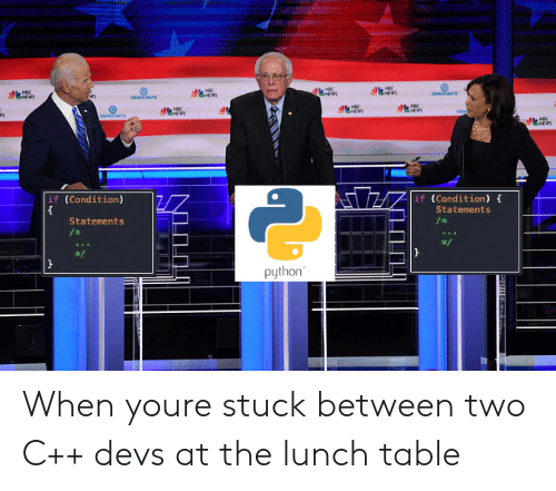 Python, Nbc, and Table: NBC  e  DEMORATS  ws  NWS  DEMOCRATS  NSC  DEN  DEMOCRATE  NBC  if (Condition)  if (Condition)  Statements  Statements  /  python When youre stuck between two C++ devs at the lunch table
