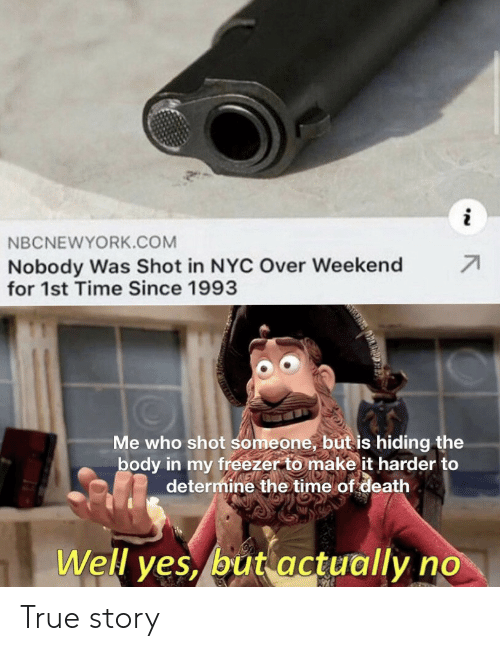 freezer: NBCNEWYORK.COM  71  Nobody Was Shot in NYC Over Weekend  for 1st Time Since 1993  Me who shot someone, but is hiding the  body in my freezer to make it harder to  determine the time of death  Well yes, but actually no True story