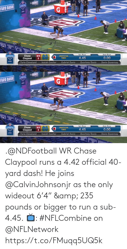 "Chase: .@NDFootball WR Chase Claypool runs a 4.42 official 40-yard dash!  He joins @CalvinJohnsonjr as the only wideout 6'4"" & 235 pounds or bigger to run a sub-4.45.  📺: #NFLCombine on @NFLNetwork https://t.co/FMuqq5UQ5k"