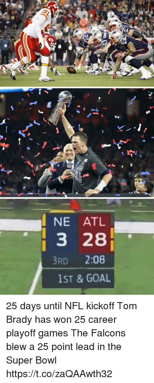 Wonned: NE ATL  3 28  3RD 2:08  1ST & GOAL 25 days until NFL kickoff   Tom Brady has won 25 career playoff games  The Falcons blew a 25 point lead in the Super Bowl https://t.co/zaQAAwth32