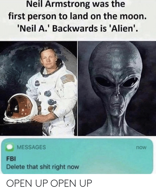 Neil Armstrong: Neil Armstrong was the  first person to land on the moon.  Neil A. Backwards is 'Alien'.  MESSAGES  now  FBI  Delete that shit right now OPEN UP OPEN UP