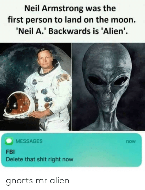 Neil Armstrong: Neil Armstrong was the  first person to land on the moon.  'Neil A.' Backwards is 'Alien'.  MESSAGES  now  FBI  Delete that shit right now gnorts mr alien