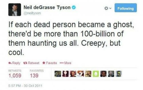 Haunting: Neil deGrasse Tyson O  Following  @neiltyson  If each dead person became a ghost,  there'd be more than 100-billion of  them haunting us all. Creepy, but  cool.  6 Reply 17 Retweet Favorite .. More  RETWEETS  FAVORITES  1,059  139  5:57 PM - 30 Oct 2011