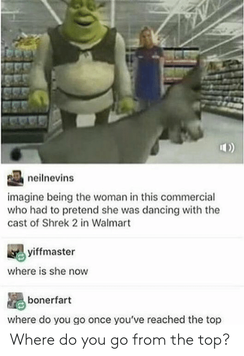 Reached: neilnevins  imagine being the woman in this commercial  who had to pretend she was dancing with the  cast of Shrek 2 in Walmart  yiffmaster  where is she now  bonerfart  where do you go once you've reached the top Where do you go from the top?