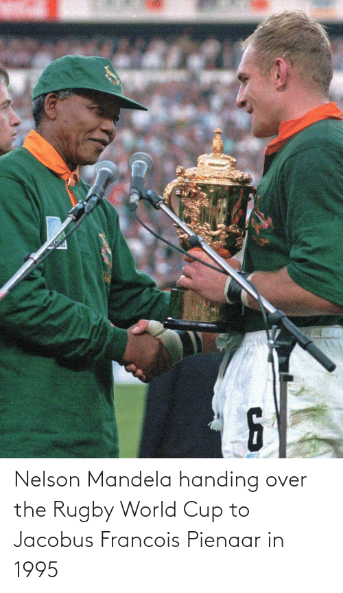 World Cup: Nelson Mandela handing over the Rugby World Cup to Jacobus Francois Pienaar in 1995