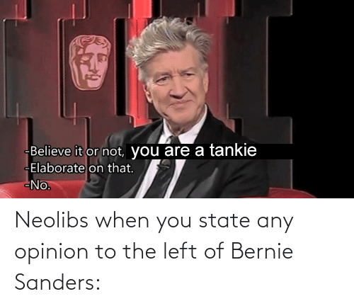 Bernie Sanders: Neolibs when you state any opinion to the left of Bernie Sanders: