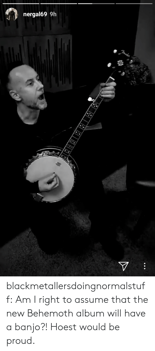 behemoth: nergal69 9h blackmetallersdoingnormalstuff: Am I right to assume that the new Behemoth album will have a banjo?! Hoest would be proud.