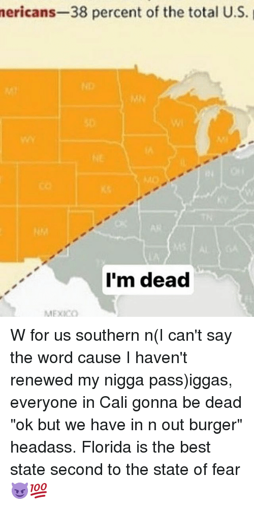 """Headass: nericans-38  percent of the total U.S.  I'm dead  MEXICO W for us southern n(I can't say the word cause I haven't renewed my nigga pass)iggas, everyone in Cali gonna be dead """"ok but we have in n out burger"""" headass. Florida is the best state second to the state of fear 😈💯"""