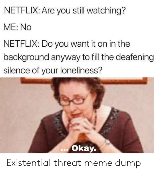 Meme, Netflix, and Okay: NETFLIX: Are you still watching?  ME: No  NETFLIX: Do you want it on in the  background anyway to fill the deafening  silence of your loneliness?  okay. Existential threat meme dump