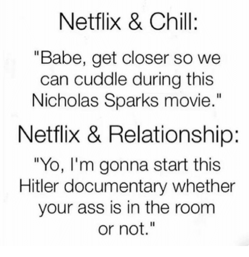 """Ass, Chill, and Memes: Netflix & Chill:  """"Babe, get closer so we  can cuddle during this  Nicholas Sparks movie  Netflix & Relationship:  """"Yo, I'm gonna start this  Hitler documentary whether  your ass is in the room  or not."""""""