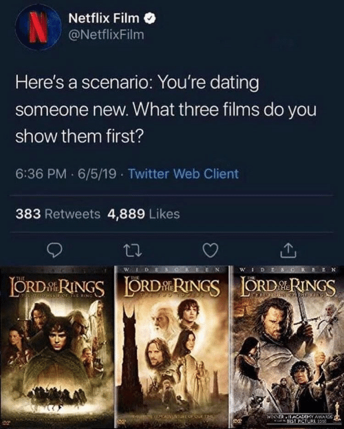 Dating, Netflix, and Pof: Netflix Film  NetflixFilm  Here's a scenario: You're dating  someone new. What three films do you  show them first?  6:36 PM 6/5/19 Twitter Web Client  383 Retweets 4,889 Likes  WLDES  wDESG  ORDRINGSORDRINGSORDRINGS  THE  POF TE RIN  WINNER ACADEMY AWAD  BEST PCTURE 150