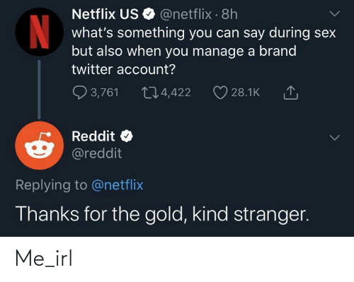 stranger: Netflix US O @netflix · 8h  what's something you can say during sex  but also when you manage a brand  twitter account?  Q 3,761  274,422  28.1K  Reddit  @reddit  Replying to @netflix  Thanks for the gold, kind stranger. Me_irl