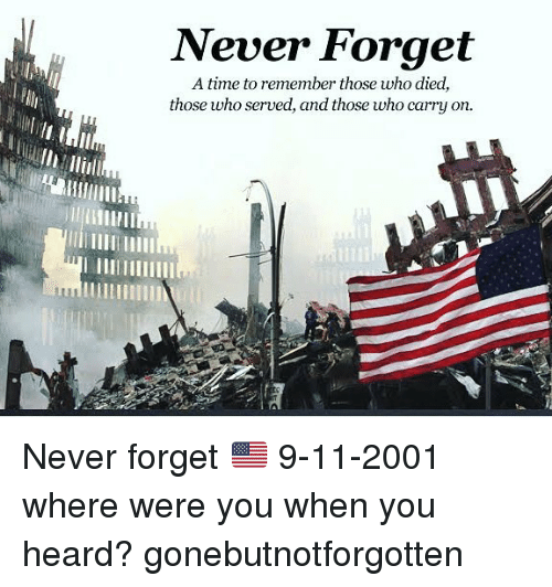 Hearded: Never Forget  A time to remember those who died,  those who served, and those who carry on.  uillm Never forget 🇺🇸 9-11-2001 where were you when you heard? gonebutnotforgotten