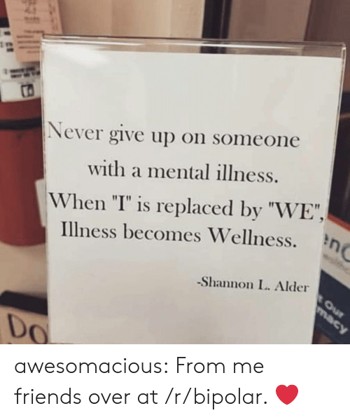 "Friends, Tumblr, and Bipolar: Never give up on someone  with a mental illness.  When ""I"" is replaced by ""WE"",  Illness becomes Wellness.  -Shannon L. Alder  0 awesomacious:  From me friends over at /r/bipolar. ❤️"