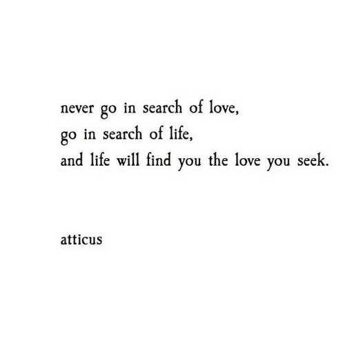 Seek: never go in search of love,  go in search of life,  and life will find you the love you seek  atticus