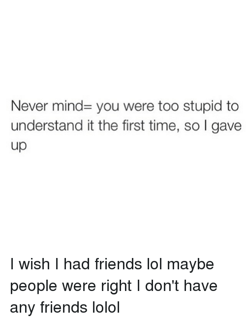 Wish I Had Friends: Never mind you were too stupid to  understand itthe first time, so I gave  up I wish I had friends lol maybe people were right I don't have any friends lolol