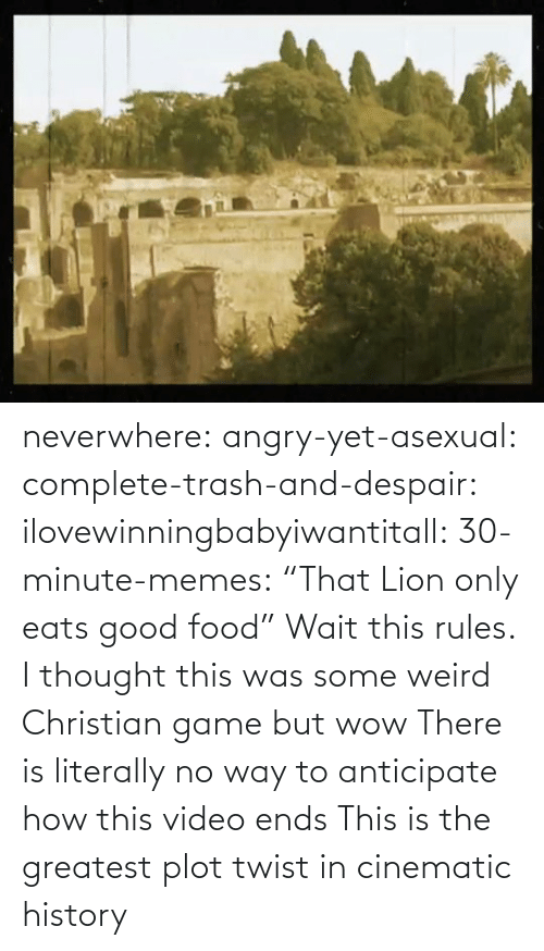 "weird: neverwhere: angry-yet-asexual:  complete-trash-and-despair:  ilovewinningbabyiwantitall:  30-minute-memes: ""That Lion only eats good food"" Wait this rules.   I thought this was some weird Christian game but wow   There is literally no way to anticipate how this video ends  This is the greatest plot twist in cinematic history"