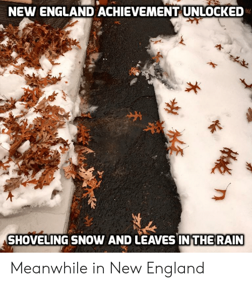 new england: NEW ENGLAND ACHIEVEMENT UNLOCKED  SHOVELING SNOW AND LEAVES IN THE RAIN Meanwhile in New England