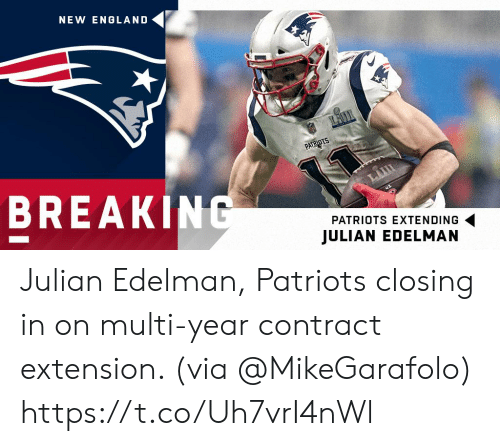 new england: NEW ENGLAND  BREAK  PATRIOTS EXTENDING  JULIAN EDELMAN Julian Edelman, Patriots closing in on multi-year contract extension. (via @MikeGarafolo) https://t.co/Uh7vrI4nWl